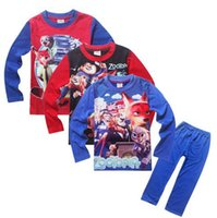 Wholesale Boy Set Winter - Kids Boys Zootopia Set Cotton Sleepwear Set for 4-12T Boys Long Sleeve Shirts + Pants 2pcs Set Pajamas 4 Styles