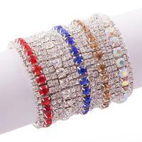 pulseiras de tenis femininas venda por atacado-MIC 10 Novas Mulheres Da Moda 3-Row Strass Guarnições de Cristal Primavera Pulseiras de Tênis 6 polegadas Moda Jóias