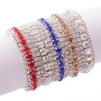 rhinestone-trimmkristall großhandel-MIC New 10 Farben Mode Frauen 3-Row Strass Kristall Verziert Frühling Armbänder Tennis 6 zoll Modeschmuck