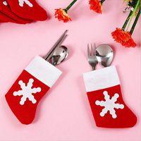 Wholesale table cloth holders resale online - Mini Santa Socks Tableware Bags Knife Fork Holders Christmas Dinner Table Decoration