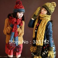 Wholesale Thermal Set For Women - Wholesale-New arrival women hat scarf gloves set thick thermal knitted winter knitted women's three piece set warm gift gifts for womens