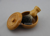 Cheap Beech Wood Shaving Bowl Soap Cup Mug With A Wooden Handle Black Badger Hair Shaving Brush