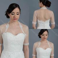 Wholesale Short Sleeve White Bolero - 2015 Cheap Wedding Bridal Bolero Jacket Cap Wrap Shrug Ivory White Sheer Short Sleeve Applique Tulle Custom Made Jacket for Wedding Bride
