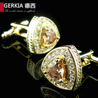 Wholesale Male Shirt Golden - cufflinks for men Luxury series 18k gold plated golden crystal cufflinks male French nail sleeve shirt cuff links cufflink free shipping