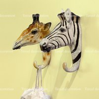 Wholesale Beverage Stickers - Free shipping Creative Three-dimensional resin animal head style hanger wall mouted stickers, hat & cloth hook for home decoration