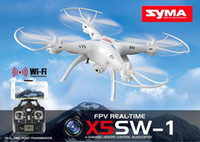 Wholesale Wholesale Drone Copter - Remote helicopter SYMA X5SW FPV RC Drone Headless Quadcopter with WiFi Camera 2.4G 6-Axis Medium Helicopter Quad copter Model