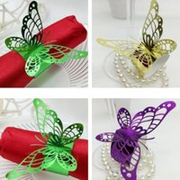 Wholesale Butterfly Paper Napkins - Butterfly Napkin Ring Exquisite Hollow Out Design Napkins Holder Double Faced Pearlescent Paper Wedding Supplies Romantic 0 35rs B