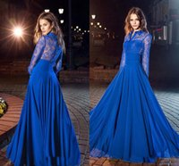 Royal Blue Long Sleeves A-Linie Prom Kleider 2018 Neueste High Neck Lace / Chiffon Stock Länge Party Abend tragen