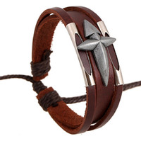 Wholesale Handcrafted Leather Bracelets - Fashion Genuine Leather Bracelet Cowskin Handcrafted Unisex Retro Punk Fashion Bracelets Charm Bracelet Man Wowen Bracelets Hot Sale