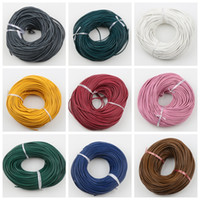 Wholesale Leather String Thong - 50yars lot 25Colors 3mm Round Oxhide Real Leather Thong Gorgeous Bracelet Necklace Cords Wire Jewelry DIY String