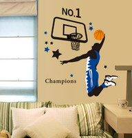 dormitorio mural de baloncesto al por mayor-Envío gratis Home Decoration Green Sports Parlour Dormitorio Estudio de fondo All-Star Basketball Wall Stickers
