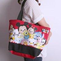 Wholesale Minnie Leisure - Wholesale-Classic Cartoon TSUM Mickey & Minnie Cartoon cute Portable Leisure 43 * 27cm canvas Bag Shoulder bag Shopping Bag