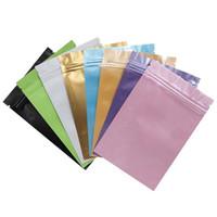 ingrosso chiusura lampo in plastica-Sacchetti a chiusura lampo di colore blu / rosa / oro / verde / nero fondo piatto Sacchetti di plastica con chiusura a zip piccola in alluminio LZ0712