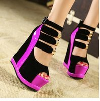 Wholesale Platform Sandal Lace Up - Summer Fashion Ladies Sexy Platform High Shoes Wedge Heel Sandals Women Night Party Shoes Pumps With Back Zip Peep Toes Shoes B3845
