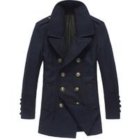Wholesale Woolen Fleece Double Breasted Coat - Woolen Jacket Male Military Winter Double-Breasted Mens Pea Coat British Style Woolen Coat Jacket Mens Overcoat Woolen Blue FG1511