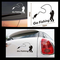 """Wholesale Outdoor Vinyl - 2014 new car styling,waterproof """"Go Fishing""""car sticker on car covers back Outdoor Sports"""