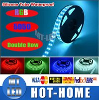 Wholesale Led Strip Lights Fish Tank - led strips 600LEDs 5M Silicone Tube Waterproof SMD 5050 RGB Double Row LED Strip Flexible light 12V For Deepwater Swimming Pool, Fish Tank