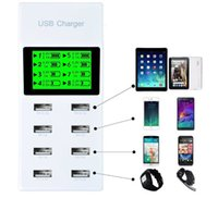 Wholesale Display Port Plug - Universal 8 USB Port Display Screen US EU UK Plug Travel AC Power Adapter Socket Smart Wall Charger For Cell Phone Tablet
