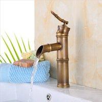 bambu musluklar toptan satış-Ücretsiz kargo Sıcak satış Bambu tarzı antika havza musluk, pirinç banyo için fırçalanmış şelale musluk, banyo lavabo musluklar A-F025