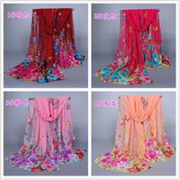 Wholesale Wholesale Butterfly Scarves - Hot ! 10pcs European and American fashion new Underbrush Butterfly Chiffon scarves 160*50 cm 8-color