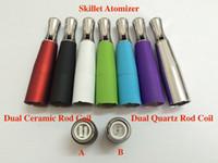Wholesale Ego Cigatette - Colorful Quartz Skillet Atomizer skillet Ego D Dual ceramic Rod Coil Herbal vapor wax Dry Herb vaporizer pen e cigatette core