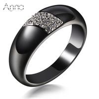 Atacado- AN Fashion Ceramic Rings Black Ceramic Rings For Women Anéis de aço inoxidável Zircon Cabochon Christmas Gift Anniversary Presente
