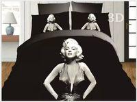 marilyn monroe ropa de cama tamaño queen al por mayor-3D Marylin marilyn monroe juego de cama colcha edredón blanco y negro queen size doble sábanas colchas ropa de cama sábana