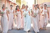 Wholesale Outdoor Bridesmaid Dresses - Outdoor Wedding Cheap Floor Length Chiffon Bridesmaid Dresses 2016 Pleated One Shoulder Sleeveless Long A-line Zipper Girl Dress