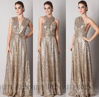 Wholesale Halter Style Silver Dresses - Convertible Style Gold Sequins Bridesmaid Dresses Long 2016 Plus Size Maternity Long Floor Length A Line Custom Made Maid Of Honor