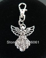 Wholesale Diy Cat Bag - Vintage Silver ANGEL WITH WINGS BOWKNOT BLESSING Lobster Swivel Clasp Key Ring For Keys Cat DIY Bag Key Chain Gift 100PCS P306