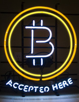"Wholesale shop advertising - Bitcoin Accepted Here Neon Sign Custom Handmade Real Glass Tuble Shop Store Motel Restaurant Pub Paying Advertise Display Neon Signs 15""X19"""