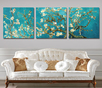 Wholesale Floral Picture Frames - Wall Painting 3 Pcs Wall Pictures Modern Van Gogh Tree Home Decor Flower Painting Canvas Art Picture Paint On Canvas(No Frame)