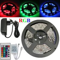 adaptateur rgb 12v achat en gros de-RGB LED Bande 5M 300Led 3528 SMD avec 24Key IR Télécommande + 12 V 2A Adaptateur Secteur Flexible Lumière Lumière De Noël Décoration de La Maison Lampe