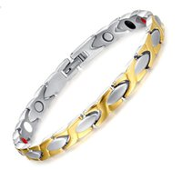 Wholesale Tungsten Gold Fade - High Quality Girlfriend fiancee Gifts Silver Gold Never Fade Stainless Steel Health Care magnet Stone Link Chain bracelet 8.5''