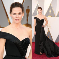 Wholesale silver one shoulder oscar dress - Oscars 88th Jennifer Garner Red Carpet Black Celebrity Dresses One Shoulder Arabic Dresses Formal Evening Prom Gowns Vestidos