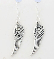 Wholesale Ear Animals - Angel Wing Earrings 925 Silver Fish Ear Hook 40pairs lot Antique Silver Chandelier E084 46.5x9.2mm