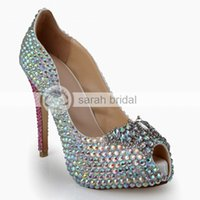 Wholesale strap open toe heel online - Fashion Rhinestone Crystal Wedding Dress Shoes Open Peep Toe Stiletto Pumps Heels cm for Lady Prom Party Evening Bridal Accessories