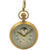 Wholesale Mechanical Wind Up Pocket Watches - Tourbillon Pocket Watch New Design Luxury Brand Fashion moon phase watch Hand Wind Up Mechanical Pocket Watch With Cowboy Chain
