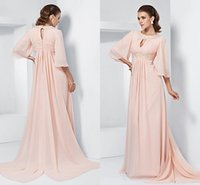 Wholesale Aline Chiffon Light Purple - Jewel Beaded Long Mother Of The brides Dresses Half Long Sleeves Vintage Chiffon Ruffles Aline Mother's Formal wear Prom Evening Gowns WW