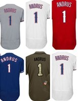 Wholesale Andrus Jersey - 2017 New Elvis Andrus Jersey 1 Men's Stitched Texas Flex Base Baseball Jerseys Cheap Mix Order Size S-4XL