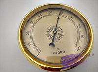 Wholesale Hygrometer For Humidors - Wholesale-New 1pcs Quality Importers Analog Hygrometer, 2-5 8-Inch Round Glass Analog Hygrometer for Humidors Gold Plasitic