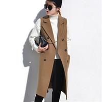 Wholesale White Elegant Cardigans - High Quality Elegant Spring Women's Vest Slim Long Female Vests Winter Wool Sleeveless Coat Jacket Long Waistcoat Cardigans