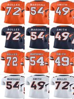 Bronco # 49 Dennis Smith # 72 Garett Bolles # 54 Brandon Marshall Uomo Donna Gioventù Vapor Untouchable Color Rush Custom Elite Football Jersey