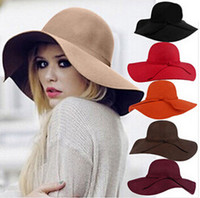 Wholesale Ladies Wool Church Hat - Wool Felt Hat 2016 Autumn Winter Ladies Women Vintage Fedora Beach Sun Hats Floppy Wide Large Brim Hat Cloche Bowler pure color Woolen Caps