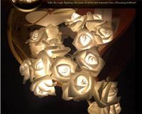 rosa rose lampe großhandel-20 LED Rose Dekorative Blumen Fairy String Beleuchtung Lampen Weihnachten Home Party Decor lichterkette weihnachtsbaum Ornament lichter