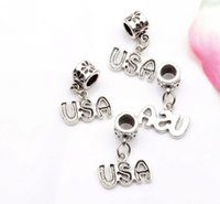 Wholesale Usa Bead Charm - Hot ! 200pcs New Antiqued Silver Single-sided USA Charm Dangle Bead Fit Charm Bracelet 23 x16mm