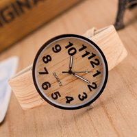 Wholesale Leather Watches For Women Cheap - New Watch Cheap Fashion Simulated Wood Grain Watch Luxury High-grade Quartz Watches For Men and Women Free Shipping
