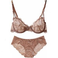 Wholesale Sexy C Panties - Newest Arrival Europe brand sexy flower embroidery ultrathin transparent women fashion Lace Bra Set Seamless Bra + Panties B C cup plus size