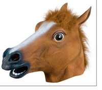 Wholesale rubber halloween mask white resale online - Creepy Horse Mask Head Halloween Costume Theater Prop Novelty Latex Rubber Party Masks