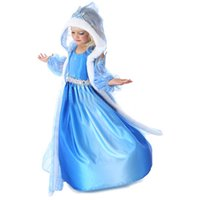 Wholesale 5t Snow - Frozen Snow Queen Elsa Costume Anime Cosplay Dress Frozen Princess Elsa Dresses With Hooded Cape Blue Fur Cape Dress Frozen dresses(1701039)